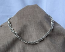 Sterling Silver Chainmail Choker Necklace in Byzantine Weave with Twist Weave Accents