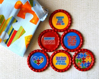 Autism Awareness Bottlecap Magnets- Super Strong Magnets- Autism Education, Support- Teacher, Therapist Gift- Puzzle Gift Bag Included