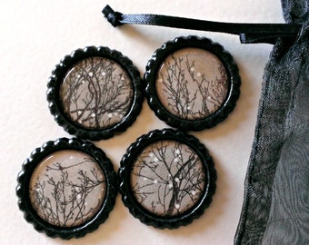 Stark Tree Branches- Bottlecap Magnets with Organza Bag- Set of 4
