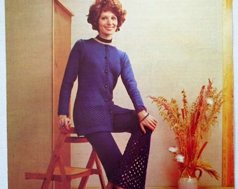 Vintage 1970s Crochet Pattern Women's Trouser Suit Lacy Bell Bottom Trousers Pants Long Cardigan Top 70s original pattern Argyll No. 712 UK
