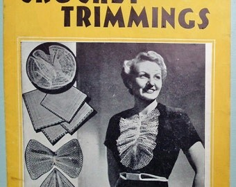 Vintage 30s Crochet Trimmings Patterns Book Women's Lacy Collars Accessories 1930s original patterns Weldon's Practical Needlework 131 UK