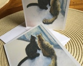 Single Signed Artist Proof, Note Card of two Cats looking out a Window, Free Shipping, Texas artist Vernita Bridges Hoyt