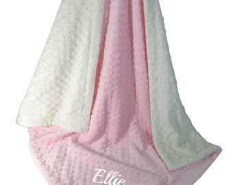 Pink Minky Dot Baby Blanket, Pink and Cream Minky Baby Blanket, Can Be Personalized