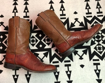 Vintage Cowboy Boots Mens Cowboy Boots Brown Cowboy Boots Lizard Skin Boots Size 8.5 Wide Justin Brand Southwestern Boots Animal Skin Boots