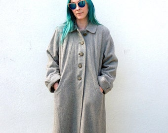Vintage 1950s 1960s GREY Thick, LONG, & Warm Retro Fall Winter Coat