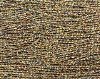 10/0 Aged Opaque Striped Picasso Mix Czech Glass Seed Beads 3 Strand Hank (AW298)