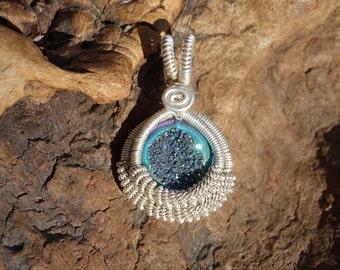 Genuine Titanium Druzy and Sterling Silver Wire Wrapped Circle Pendant ~ Handcrafted, Faerie, Pixie, Sparkling, Druzy Quartz Pendant