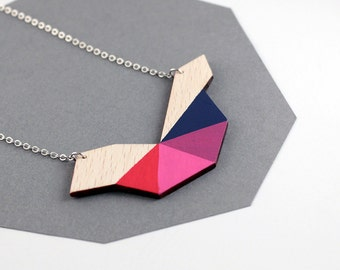 Geometric polygon bird shape wooden necklace - red, magenta, pink, dark blue - minimalist, modern jewelry