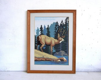 Vintage Deer Paint By Number Painting | Buck PBN Painting | Woodland | Antlers | Forest