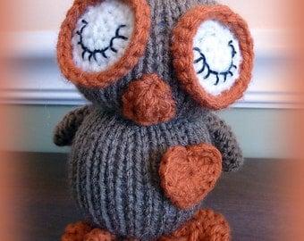 Hand Knitted Stuffed Owl, Stuffed Animal, Stuffed Owl, Toy