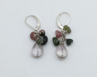 Pink Amethyst and Tourmaline Earrings - Spring Earrings - Mothers Day Earrings - Easter Earrings - Dangle Earrings