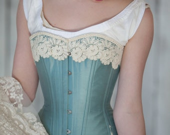 Custom Victorian Corset in Silk with Flossing and Lace, Made in your Color and Measurements for Civil War, Bustle, 1860's - 1880's costume
