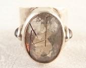 Size 6 Vintage Sterling Rutilated Quartz with Accent Garnet Designer Ring by Obsidian