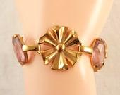 Vintage Coro Gold Tone and Pink Glass Designer Costume Bracelet