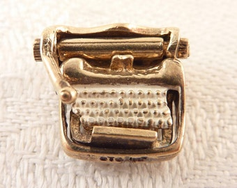 Vintage Goldwash Sterling Painted Moveable Typewriter Charm