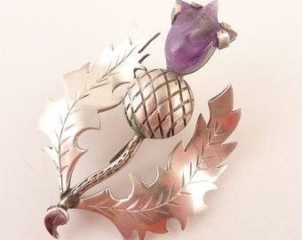 Antique Mexican Sterling Amethyst Thistle Brooch For Repair or Crafting