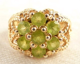 Size 6 Vintage Gold Tone Sterling Peridot Multi Gemstone Floral Ring