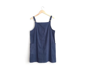 Size M/L // NAVY MICROSUEDE PINAFORE // Oversized - Patch Pockets - Vintage '90s - Minimalist Mini Dress.