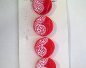 "11/16"" 1950's Schwanda Card of Red Glass Buttons with Beautiful White Painted Lacy Design 7460-8"