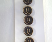 """Card of 1/2"""" Brown Glass Buttons with Gold Luster Design 2797-6"""