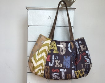 Large Hobo ALPHABET SOUP = apple green red blue dark gray retro fonts chevron stripe silver burlap zipper vegan leather jennjohn handbag