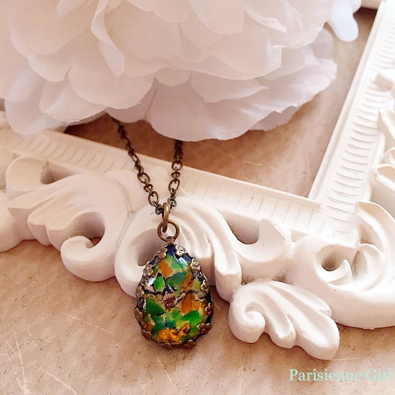 Best Christmas Gifts for Sister - Victorian Necklace - Glass Opal Necklace - Green Opal - October Birthday Jewelry Gift - SOIREE Enchanted