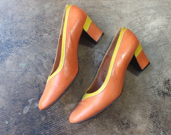 Size 8 / 1960's Color Block Pumps / Vintage Orange and Yellow Leather Heels / Mid Century Shoes