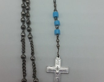Vintage pocket size metal and blue bead Rosary, Small Rosary, Prayer Beads