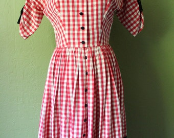 1950's Lanz Original Red Gingham Party Dress
