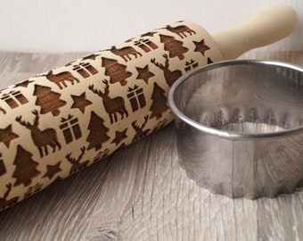 Christmas rolling pin, embossing rolling pin, Christmas themed embossing roller, cookies decorating rolling pin, Christmas icons roller
