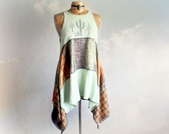 Green Lagenlook Top Womens Draped Tunic Upcycle Clothes Southwestern Cactus Flowing Scarf Shirt Bohemian Chic Layering Clothing L XL 'SADIE'