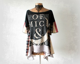 Off Shoulder Tunic Of Mice Men Recycle T-Shirt Hippie Chic Top Boho Style Shirt Funky Clothes Draped Scarf Shirt Lagenlook Top L 'KENDALL'