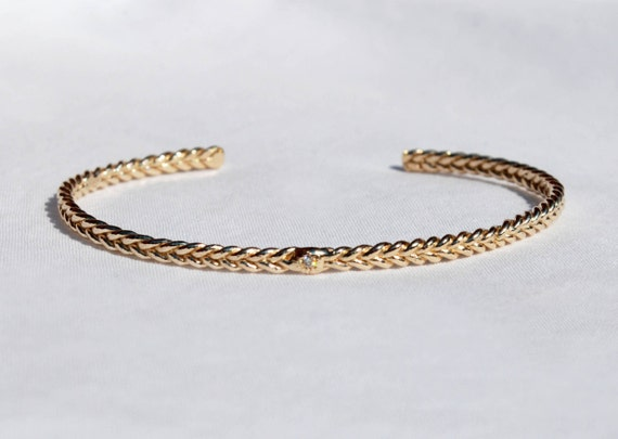 10k Yellow Gold and Tiny Diamond Thin Braid Stacking Bracelet_READY TO SHIP