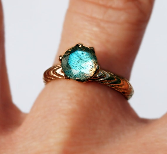 Solid Rose Gold and Labradorite Cuttlefish Cast Claw Ring
