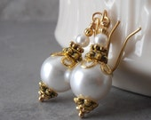 Pearl and Gold Earrings Bridal Jewelry White Pearl Bridesmaid Earrings Antiqued Gold Beaded Jewelry Dangle Earrings White Wedding Jewelry