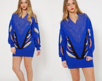 Vintage 80s Blue OVERSIZED Sweater METALLIC Dolman Sleeve Sweater SLOUCHY New Wave Jumper