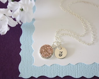 Personalized Druzy Necklace Copper, Crystal Necklace, Thin Druzy Pendant, Initial Sterling Silver, Sparkly Pendant, Monogram, Natural Stone