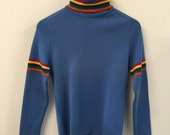 Thin Wool Turtleneck Sweater in Sky Blue with Rainbow Accents - Size Small