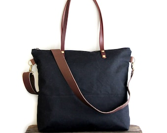 Waxed Canvas Tote in Black with Cross Body Leather Strap and Leather Handles
