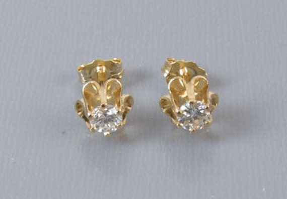 14k gold .36ct SI1-SI2/I-J diamond solitaire pierced stud earrings