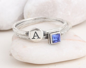 Stackable Initial Ring & Stack Birthstone Ring, Set of 2 Rings. Create a custom ring as a gift for mom, birthday gift or graduation gift.