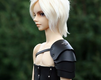 SD13/SD17 [Doll] Black Leather Pauldron with Upper Arm Protection