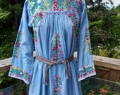 Vintage Mexican Dress, Embroidered Mexican, Blue Mexican dress, Long sleeve Mexican, 70s mexican dress, size XS