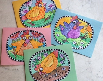 DIY Chicken Coloring Cards