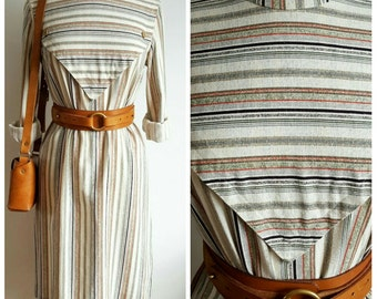 Vintage Stripe Linen Dress, Medium to Large