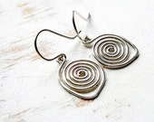 Sterling Silver Spiral Earrings, Artisan Jewellery, Metalwork Earrings, Simple Everyday Jewellery, Small Drop Earrings, Geometric Jewellery