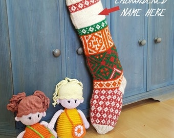 Customized Knitted Christmas Stockings White Green Orange Red, Fair Trade Knit Christmas Stockings, Handmade Christmas Stockings, xmas ideas