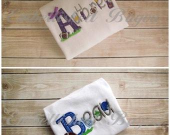 Applique Initial Football Alphabet Name T-shirt or Onesie for Girls or Boys