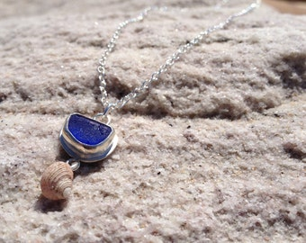 Cobalt Blue Sea Glass Necklace with Periwinkle  made in Sterling Silver - Sea Glass Collection