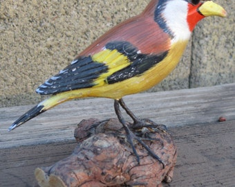 Hand Carved Goldfinch Bird Painted Wood Carving Vintage Art Bird Sculpture Decoy Mounted on Driftwood